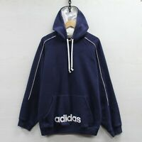 Vintage Adidas Sweatshirt Hoodie Size Large Navy Blue Embroidered Spell Out