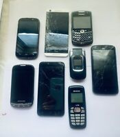 Lot of 8 Old Used Cell Phones - Samsung, Blackberry,  Kyocera, LG, ZTE, HTC