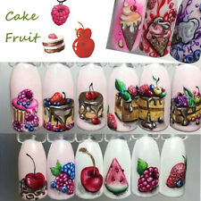 18Pcs 3D Fruit Ice Cream Cake Manicure Nail Art Water Transfer Sticker Decal DIY