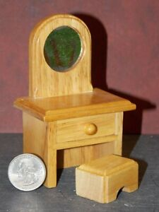 Dollhouse Miniature Vanity & Stool Oak PLAY SCALE 4 inch tall P66 Dollys Gallery