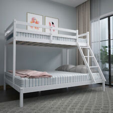 Bunk Bed Pine Wooden Frame Children Triple Sleeper White Single Top Double Base