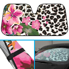 Pink Flowers Leopard Car Sun Shade - Windshield Sunshade Blocks UV Ray & Heat