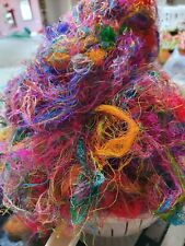 200gr Sari Silk Fibres Recycled Multicolored Spinning Felting Textiles Crafts