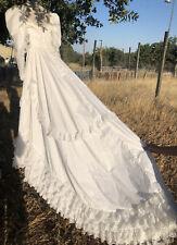 New listing Vintage Wedding Dress 70s Prairie Lace Sequins Long Train Long Sleeve Read Desc.