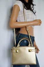 NWT MICHAEL KORS KARLA EAST WEST SMALL SATCHEL LEATHER SHOULDER BAG GOLD $328