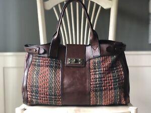 FOSSIL Vintage Reissue Weekender Knit Tartan Multi Brown Leather Satchel Bag