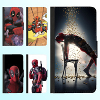 iPhone X 8 Plus 7 6s PU Leather Flip Wallet Case Deadpool Marvel Silicone Cover