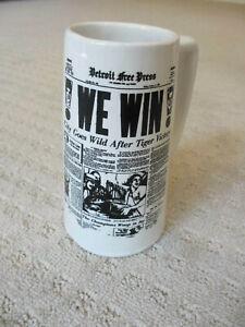 "VINTAGE 1968 DETROIT TIGERS DETROIT FREE PRESS ""WE WIN"" BEER STEIN"