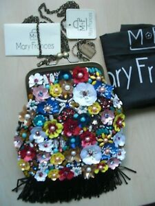 "BRAND NEW Mary Frances Beaded Flowers Fringed Colorful Purse ""PARTY TIME"" w/Bag"