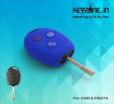 Silicone Key Cover for Ford Figo / Fiesta / Fusion 3 button remote key (Blue)