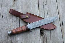 DAMASCUS Knife CUSTOM HANDMADE Forged HUNTING BOWIE LEATHER HANDLE SHIPS USA