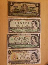 🇨🇦  Canada Canadian 1 Dollar Banknote (qty 4) 1937, 1954, 1967, 1973 (AA)