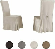 6 Serta Relaxed Fit Smooth Suede Furniture Slipcover, Dining Chair Long Skirt