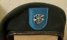 VINTAGE Special Forces Green Beret + Oval + Jump Wings - 19TH SF - Size 7 3/8