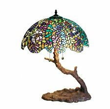 "Tiffany-style Green Purple Stained Glass Shade Branch Shape Stem & Base 25"" High"