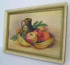 Antique Vintage Nice Fruit  Painting Mid Century Modern Gilt Liner Picture Frame