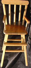 "Wonderful Antique Vintage Doll's Doll Oak Burl Wood High Chair 26"" 9"" Seat"