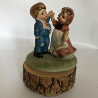 Chadwick Vintage Japan Music Box Figures Dancing Couple Rotate hand painted