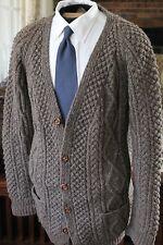 CLADAGH RING Shab Hag Donegal Hand Knit Aran Cardigan Fisherman Wool Heathr Brwn