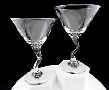 "LIBBEY GLASS SET OF 2 BENT CROOKED STEMMED 6 1/2"" MARTINI GLASSES"