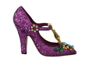 RRP $1600 DOLCE & GABBANA Shoes Purple Sequin Leather Crystal Sandal EU41/US10.5