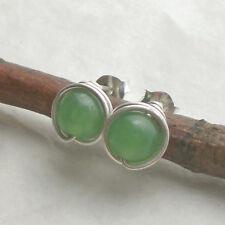Aventurin Ohrstecker 925 Silber, eingefasste Ohrringe grün Sterlingsilber d735
