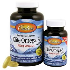 Carlson Labs Elite Omega-3 Gems Fish Oil 1250 mg, 120 Softgels