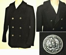 Men Leather GERMAN PEA COAT Blue Fur Collared Military REAL HIDE JACKET DR-WHO