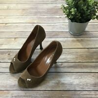 L'autre Chose Women's 37.5 Heels Light Brown Suede Stiletto Made in Italy Shoes