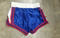 Vintage Betlin Basketball Sports Shorts Size S Small Silver Blue Red 100% Nylon