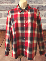 Tommy Hilfiger Women's Blouse Size L Long Sleeve Plaid Button Down Shirt