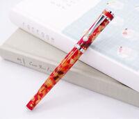 Fuliwen Celluloid Rollerball Pen , Maple Leaf Orange Writing Pen for Office Gift