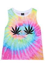 WEED CANNABIS TIE DYE TANK T SHIRT TOP TUMBLR GRUNGE FESTIVAL RAINBOW DRUGS GOTH