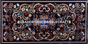Black Marble Dining Side Tabla Top Creative Inlay Design Home Garden Decor H5624