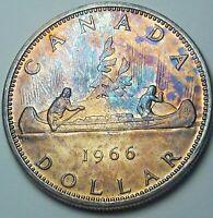 1966 CANADA 1 ONE SILVER DOLLAR TONED BU GEM UNC FLAWLESS MULTI COLOR (DR)