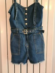 Parisian Tall Denim Playsuit Dungerees ~ Belted ~ NWOT ~ 14