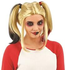 Womens Dip Dye Pigtail Harley Quinn Suicide Squad Wig Fancy Dress New