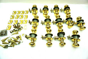 13 SCHLAGE Door Knobs Polished Brass with extra items included ~ Nice Lot!!