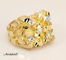 Real 10k Gold Men's Nugget Ring Band with Cubic Zirconia