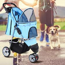 Passeggino per Cani Blu con Blocco Ruote Trasportino per Cane Animali Ridgeyard