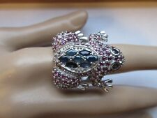 TOP RICH GENUINE BLUE SAPPHIRE & RHODOLITE GARNET FROG RING 925 STERLING SZ/8