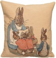 "NEW 14"" BEATRIX POTTER MRS RABBIT PETER BELGIAN TAPESTRY CUSHION COVER 878"
