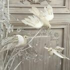 Off White Gold Glitter Feather Dove Bird Decoration Clip On Christmas Gisela Peg