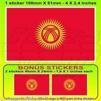 """KYRGYZSTAN Flag KYRGYZ REPUBLIC Vinyl Bumper Decal Sticker, 4""""(100mm) x1+2 BONUS"""