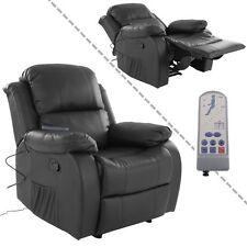 Fernsehsessel mit Vibrationsmassage Kunstleder schwarz Wärmefunktion und Fernbed