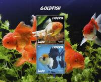 Liberia Fish Stamps 2020 MNH Goldfish Fishes Domestic Animals 2v S/S