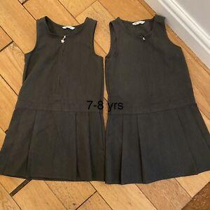 girls grey school pinafore 7-8 X2 Dresses