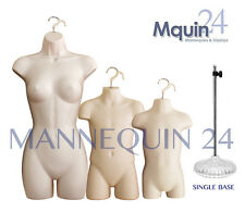 A Set of Female, Child & Toddler Mannequins in Flesh + 1 Stand Dress Body Forms