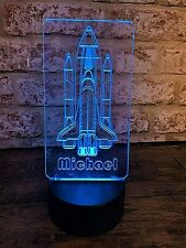 Personalised Space Rocket LED Colour Change Nightlight | Unique Mood Light