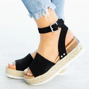 Women Ankle Strap Flatform Sandals Espadrilles Ladies Platform Wedges Shoes UK